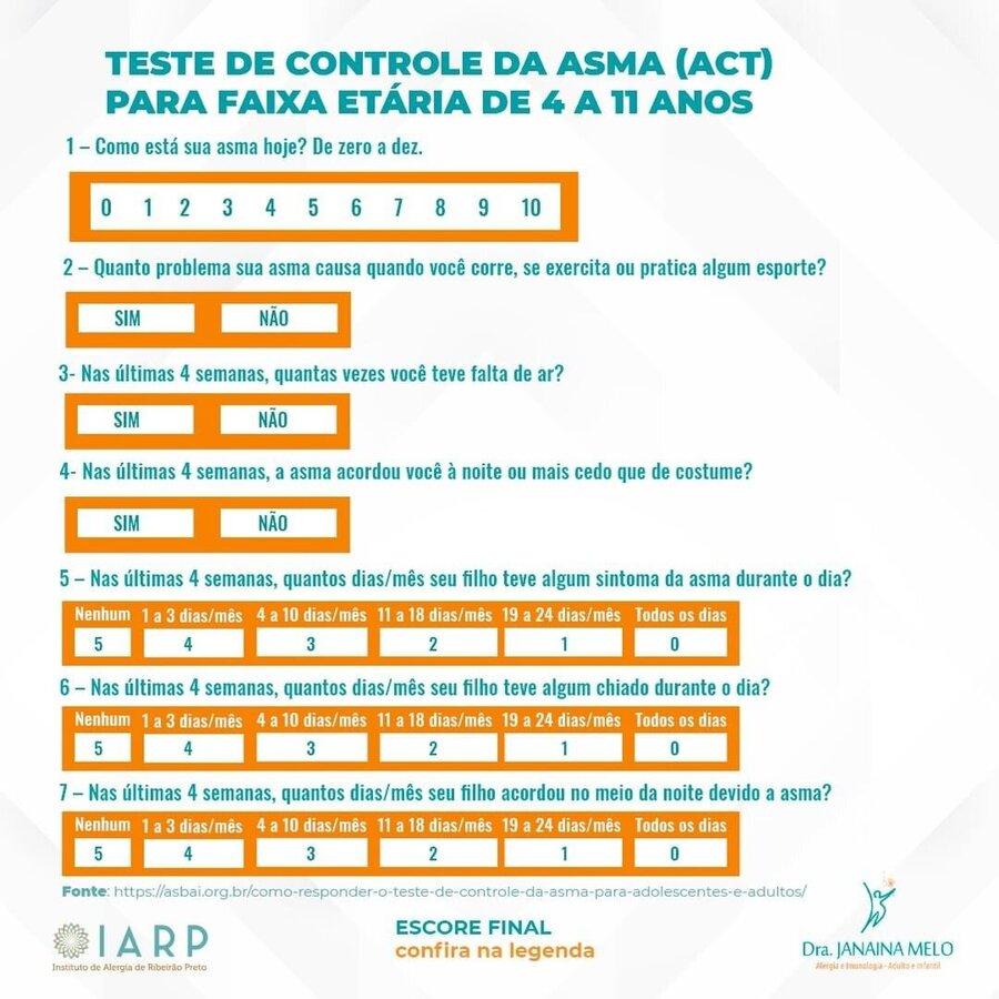 Teste de Controle de Asma para faixa etária - 4 a 11 anos