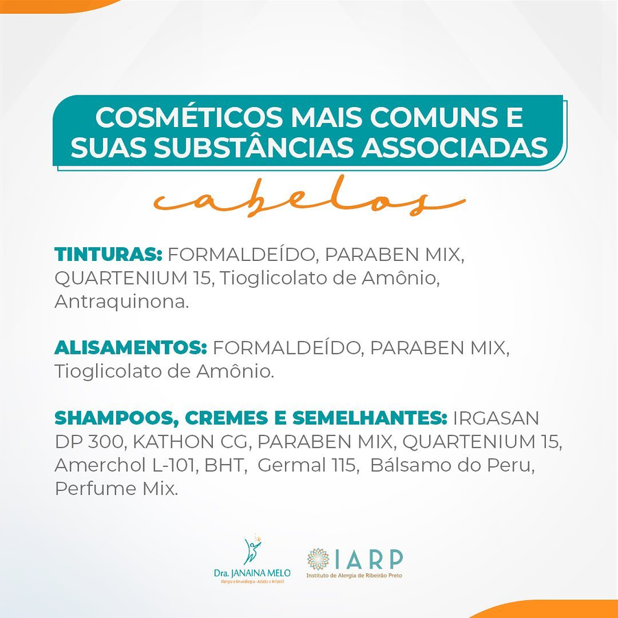 Cosméticos mais comuns e substâncias associadas